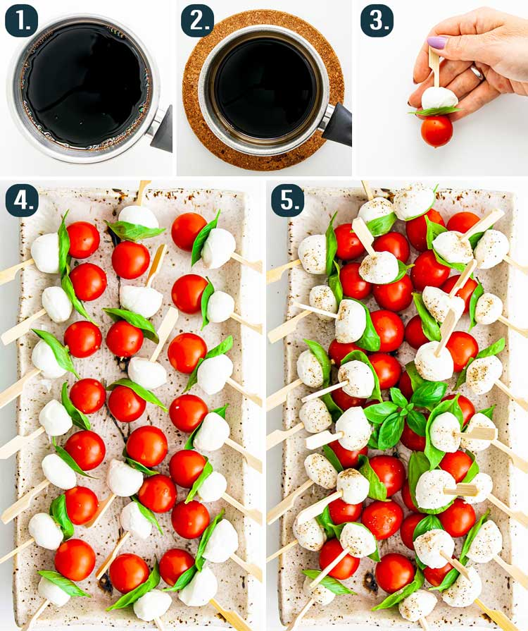 detailed process shots showing how to make caprese salad bites