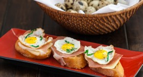 quail eggs with prosciutto crostini-1-2