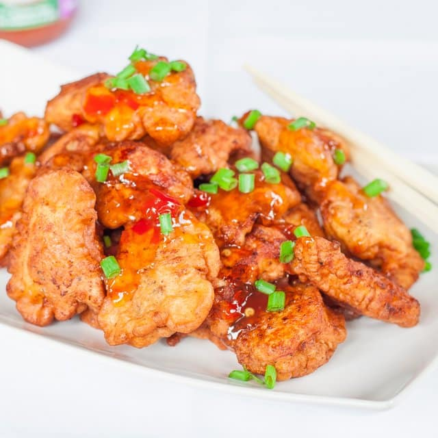 Thai Chicken Bites – bite size pieces of fried chicken drizzled with ...