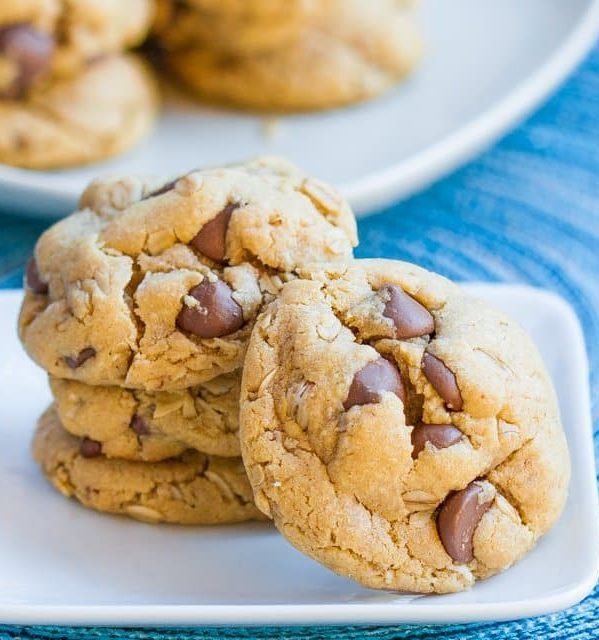 chocolate chip peanut butter cookies stacked on a plate