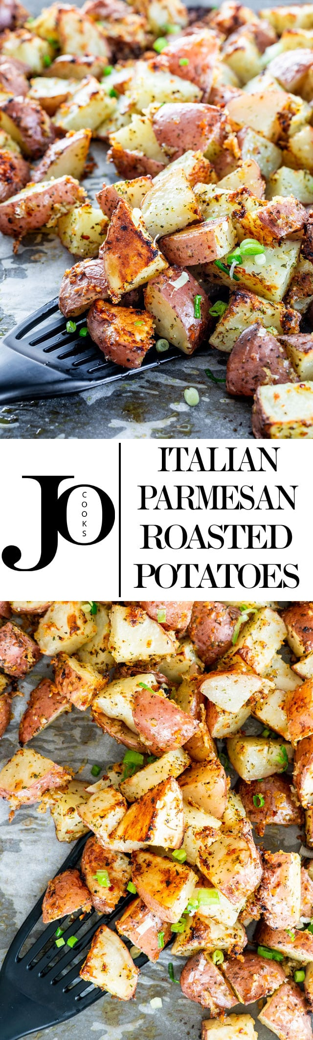These Italian Parmesan Roasted Potatoes are so full of flavor and deliciousness, perfectly crispy and cheesy! They truly are the perfect side dish! All you have to do is enjoy them. #roastedpotatoes