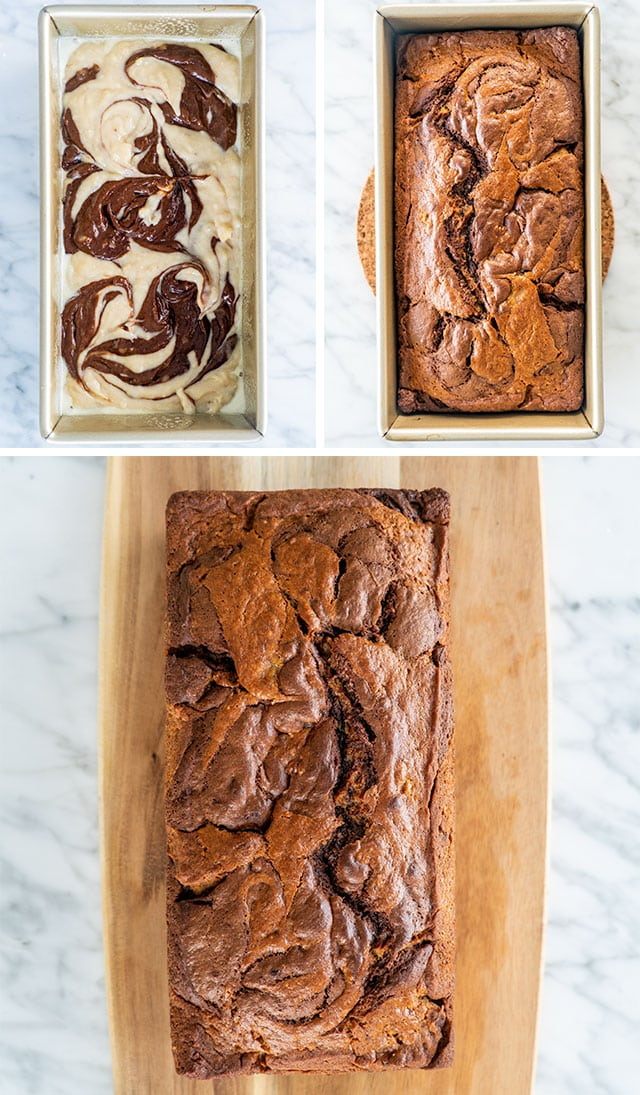 process shots for Marbled Chocolate Banana Bread