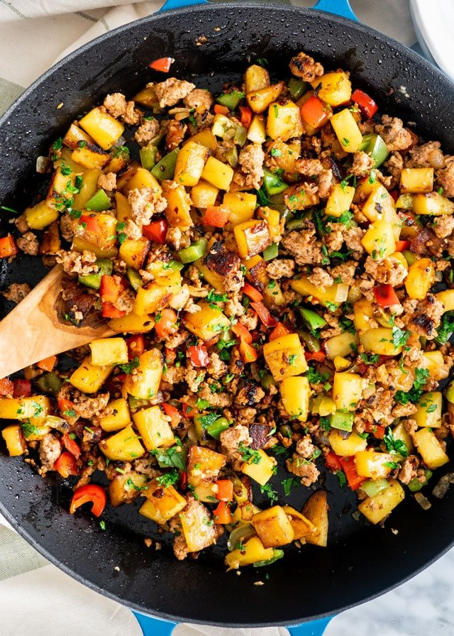 Sausage Potato Hash in a skillet