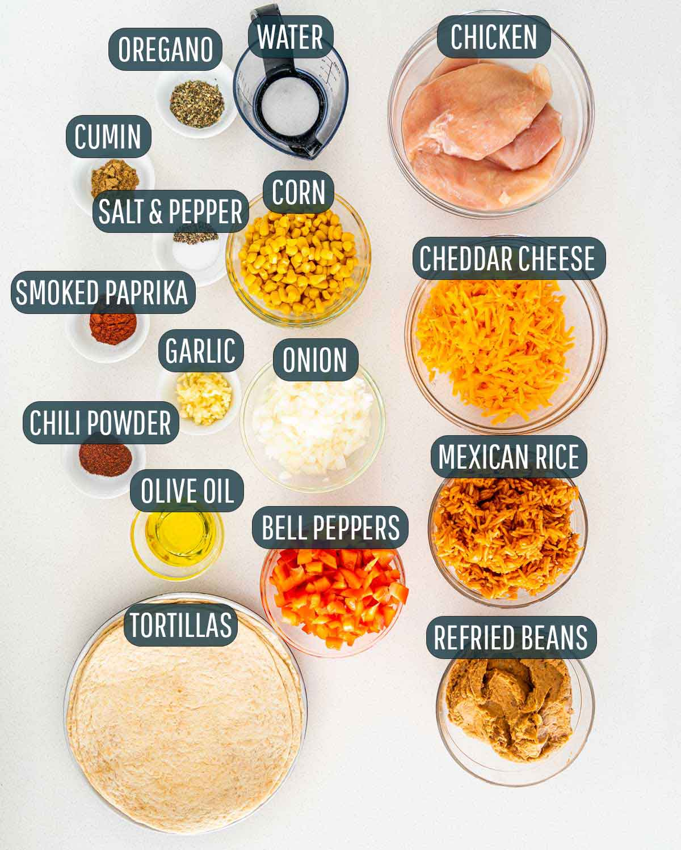 overhead shot of ingredients needed to make chicken burritos.