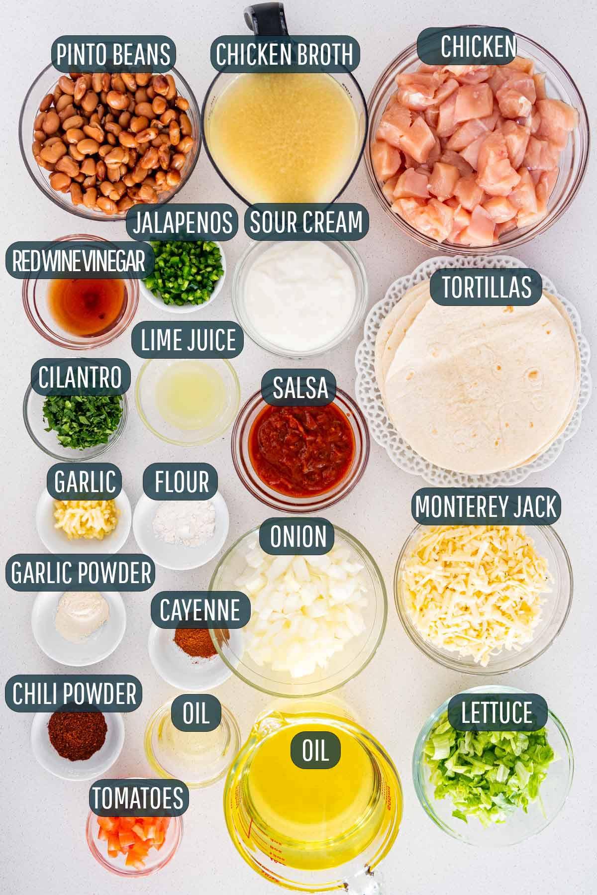 overhead shot of ingredients needed to make chimichangas.