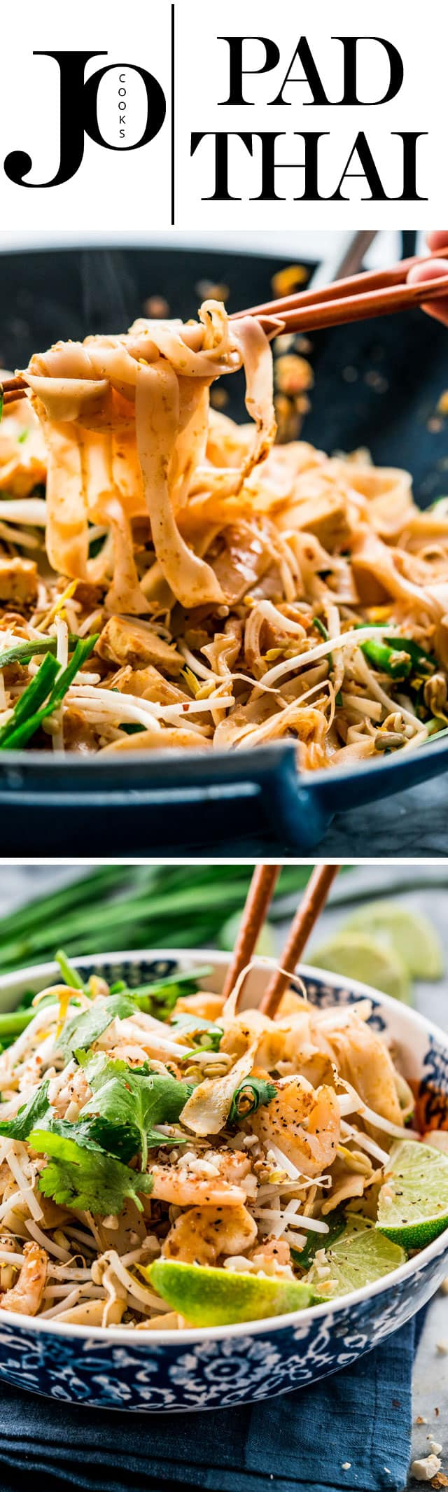 This Pad Thai with shrimp and tofu gives you all the flavors and taste of the authentic Pad Thai, in the comfort of your home. Who needs takeout when you can do this in less than 30 minutes! www.jocooks.com #padthai #takeoutfakeout