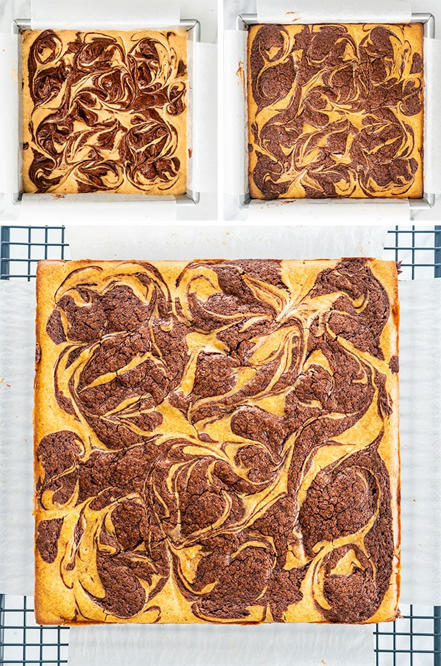 Pumpkin Cheesecake Brownies cooling on rack