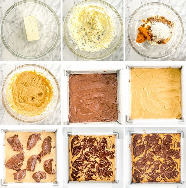 Pumpkin Cheesecake Brownies process shots