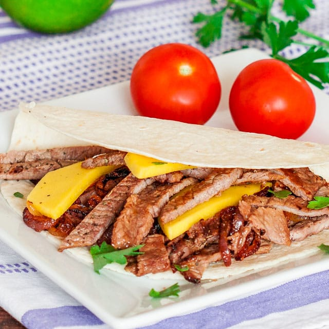 Steak and Mango Fajita on a plate