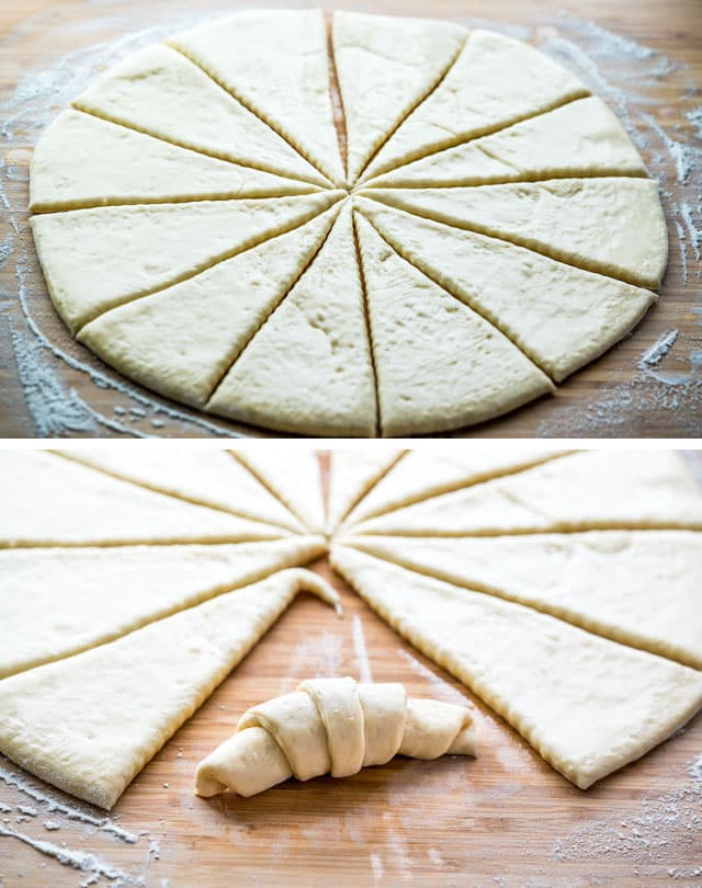 fresh dough sliced into triangles, and then rolled into crescents.