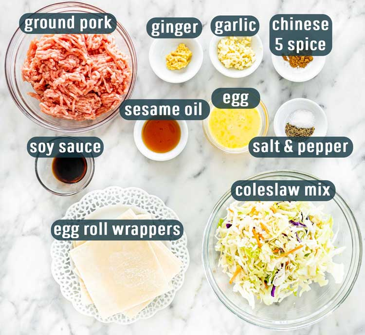 overhead shot of all ingredients needed to make egg rolls