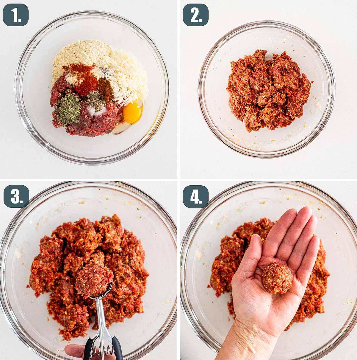 process shots showing how to make italian meatballs.