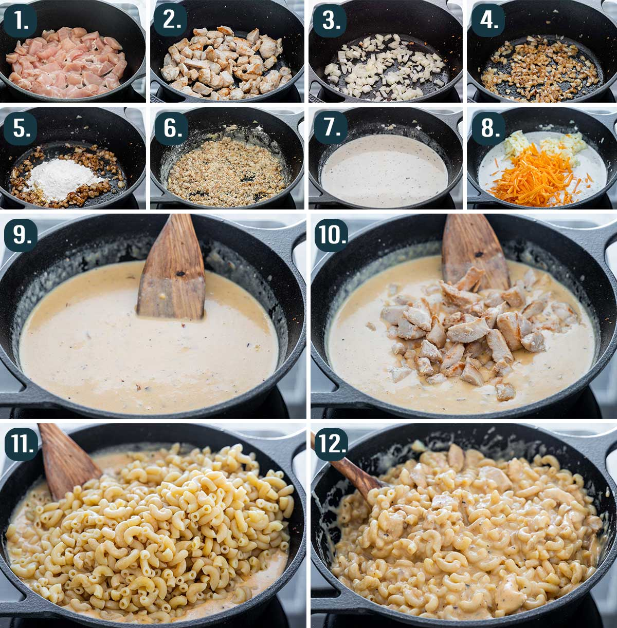 process shots showing how to make chicken mac and cheese