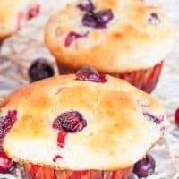 freshly baked cranberry banana muffins