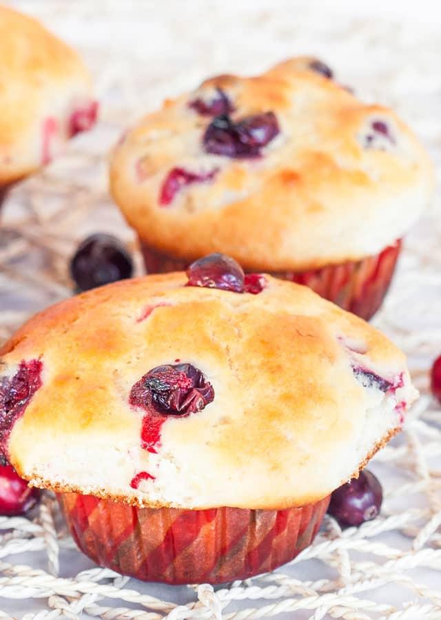 Close up shot of Cranberry and Banana Muffin
