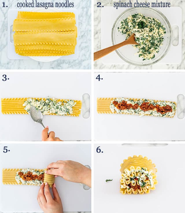 step pictures for how to roll lasagna roll-ups
