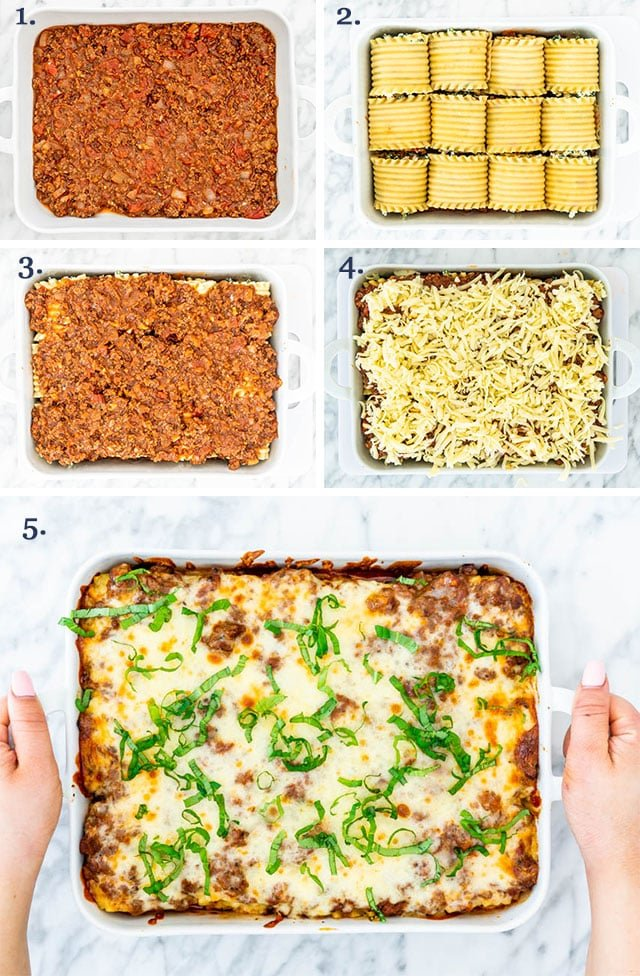 step pictures for assembling lasagna roll-ups