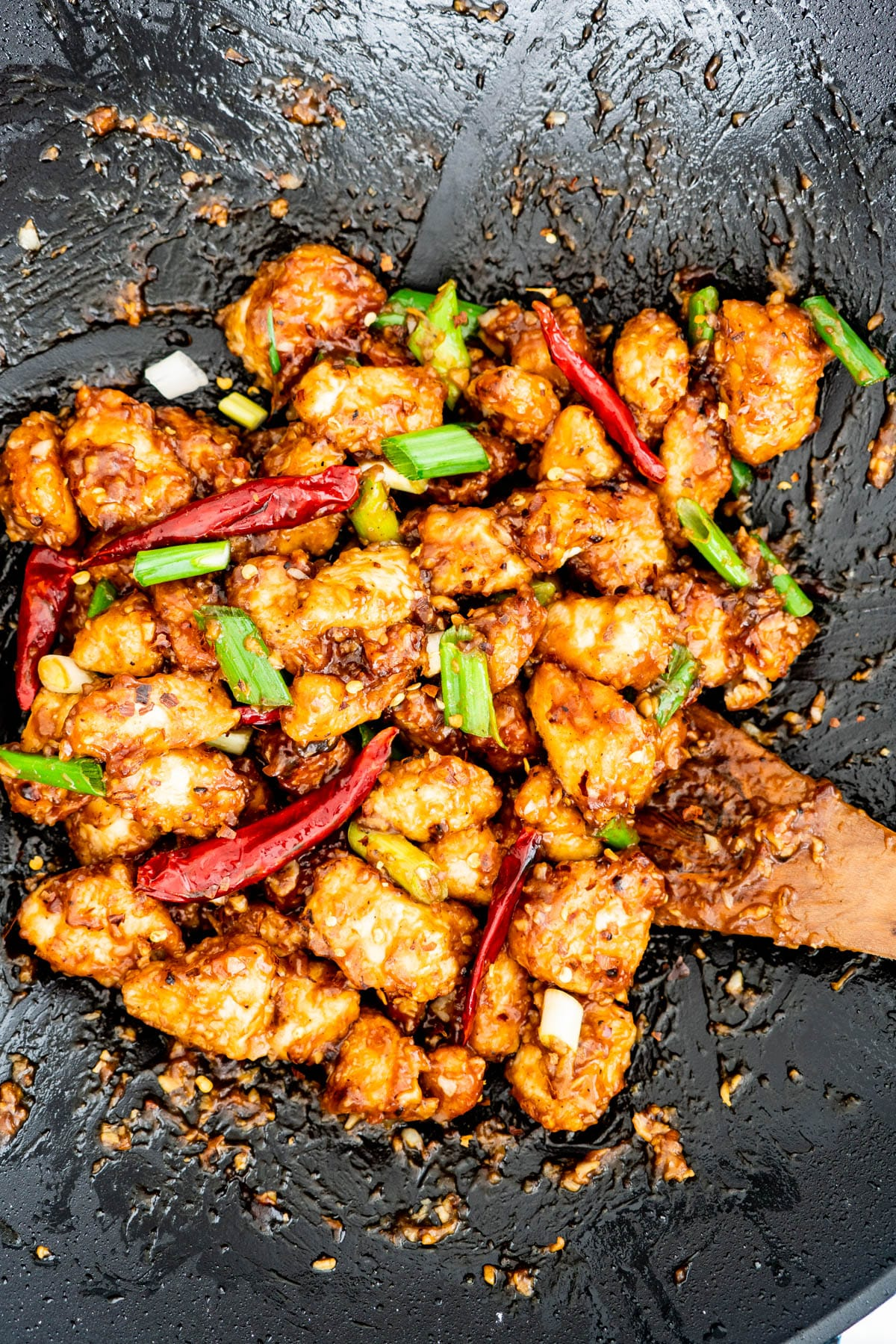 mongolian chicken in a wok
