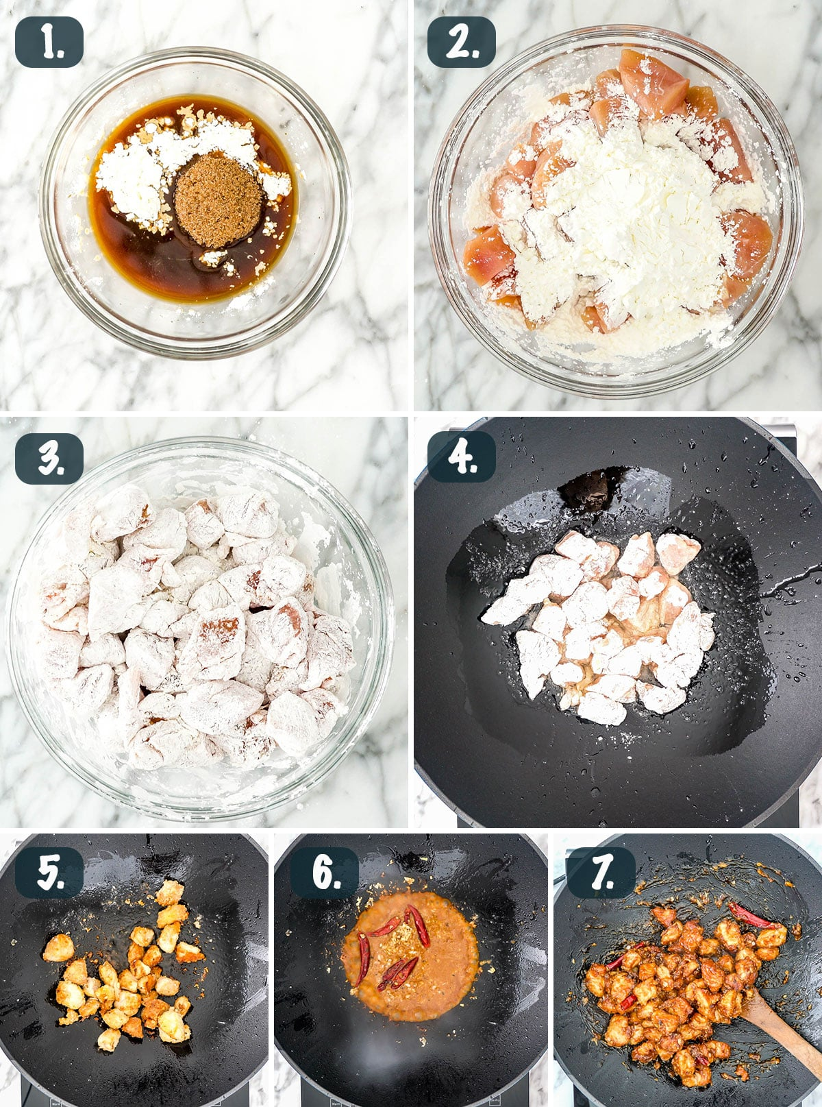 process shots showing how to make mongolian chicken