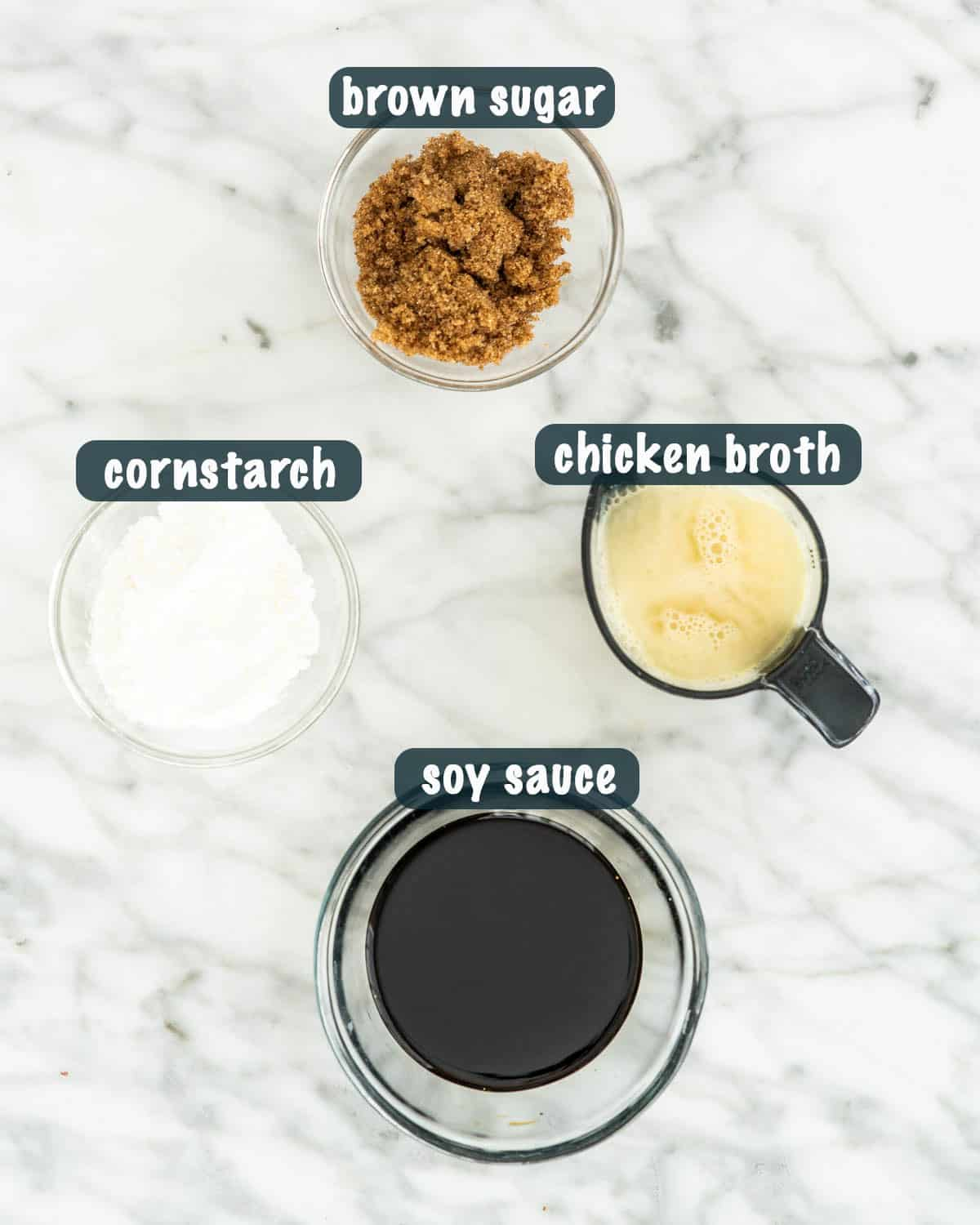 overhead shots of ingredients needed to make mongolian chicken sauce
