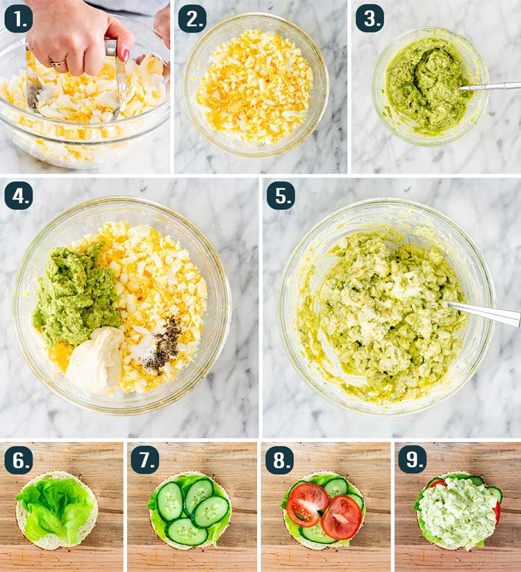 process shots showing how to make avocado egg salad