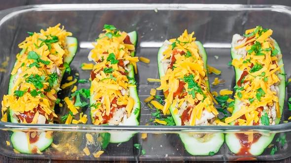 Chicken Enchilada Stuffed Zucchinis in a baking dish