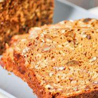 slices of pumpkin raisin nut bread
