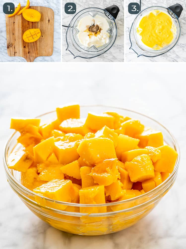 process shots showing how to make mango lassi