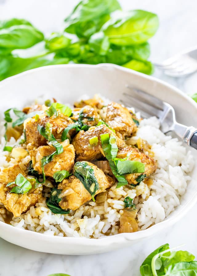 Coconut Basil Chicken Curry over rice