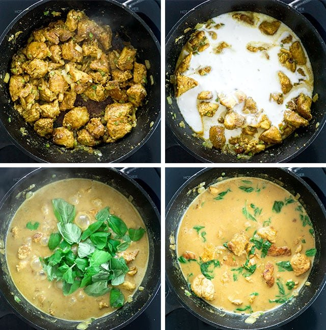Coconut Basil Chicken Curry process shots
