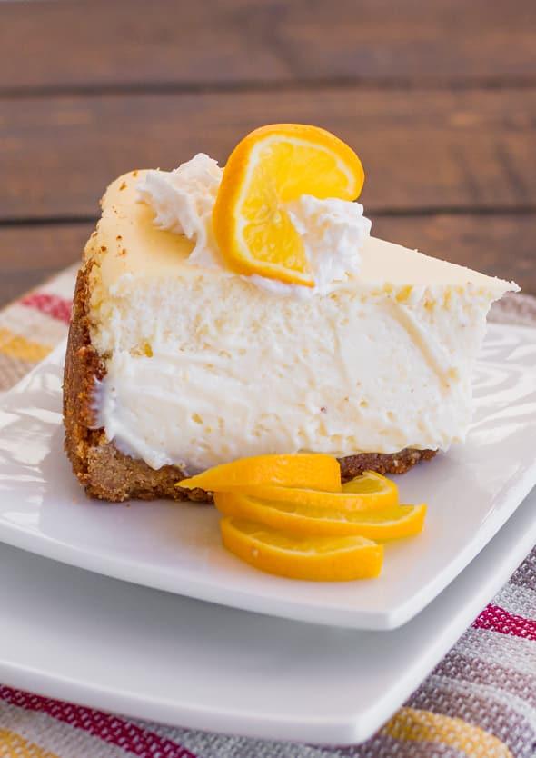 A slice of Meyer Lemon Cheesecake