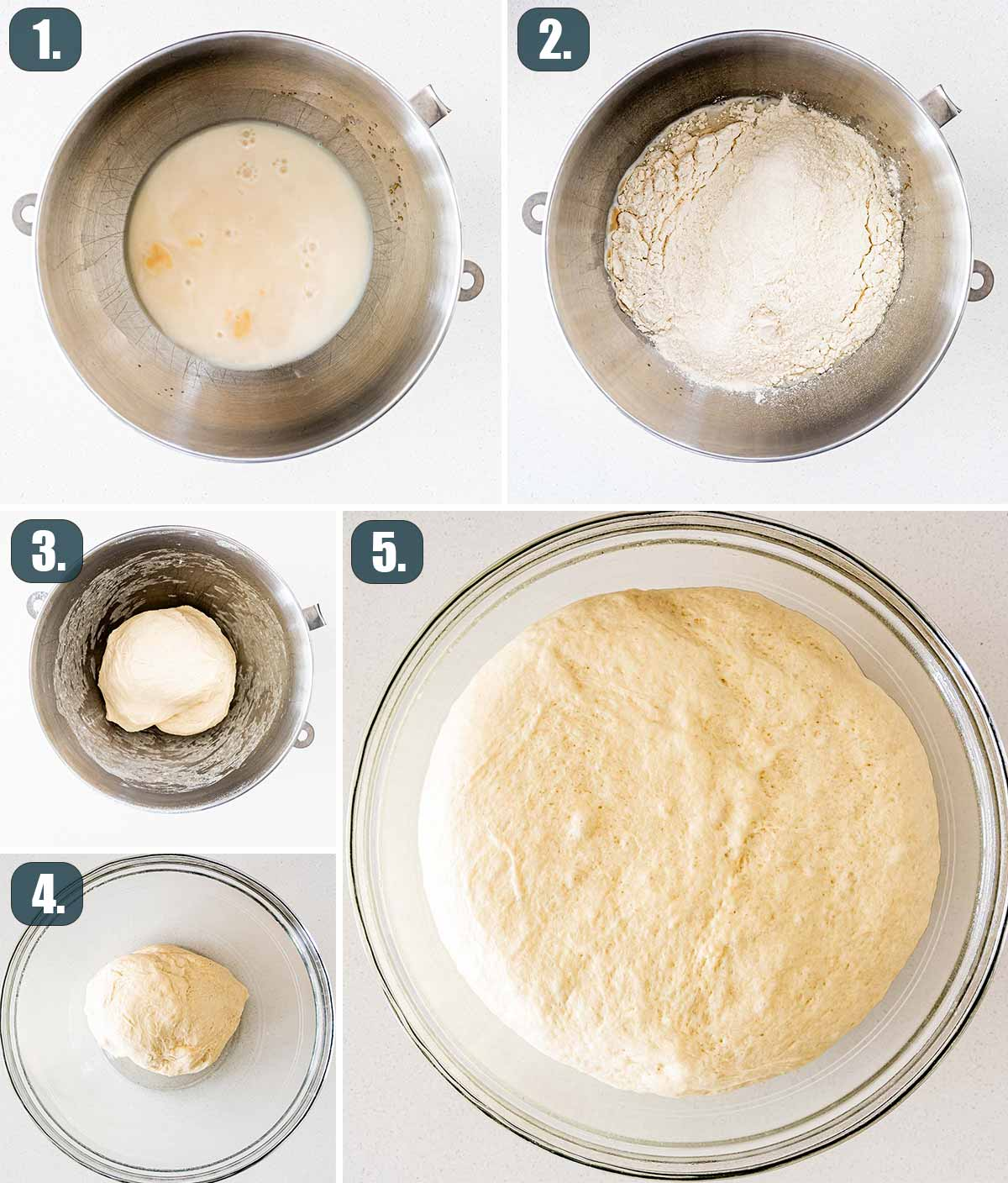 detailed process shots showing how to make dough for soft pretzels.