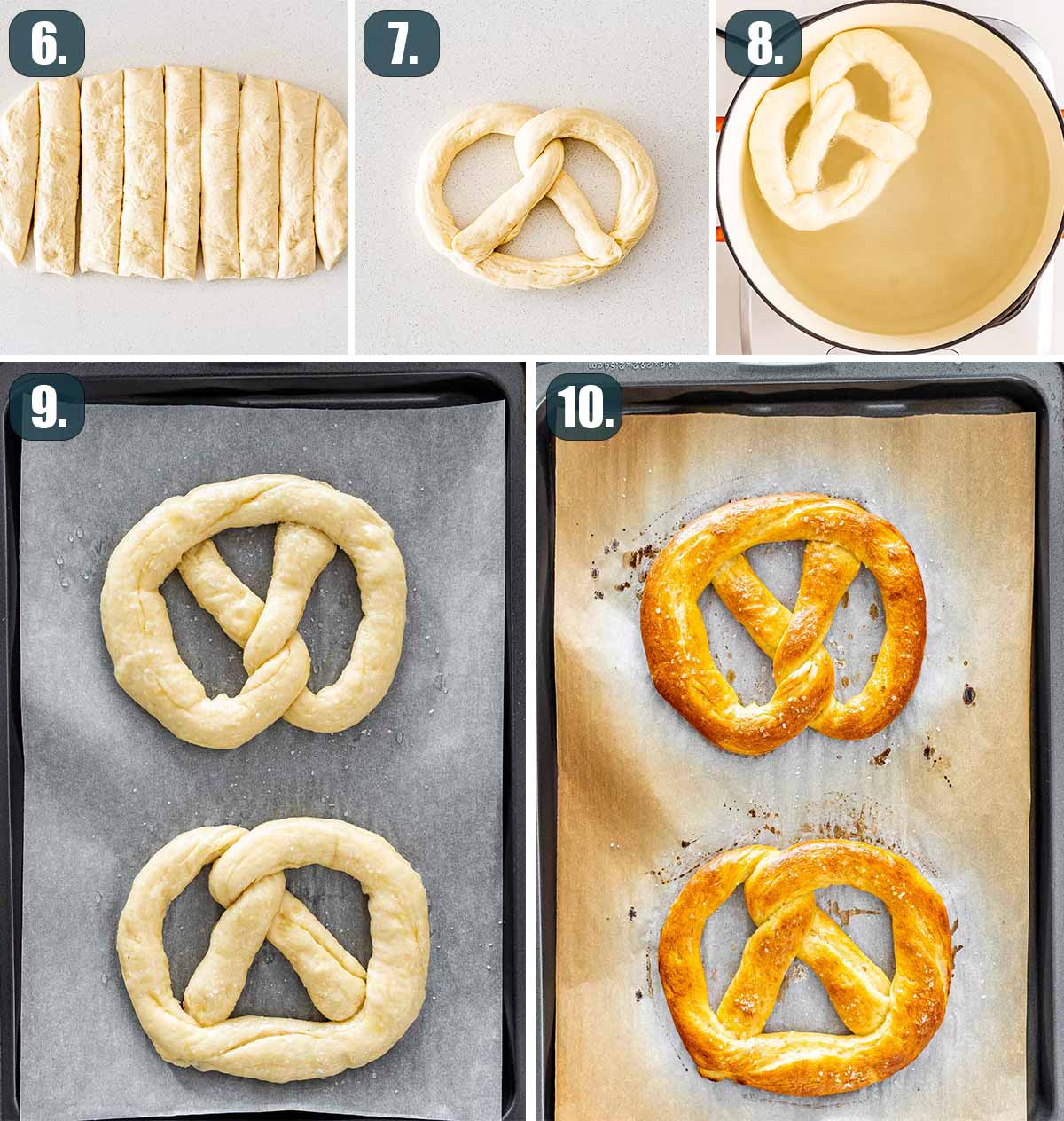 process shots showing how to shape the dough into pretzel form and bake it.