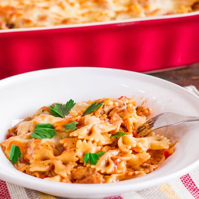 A bowl of Cheesy Chicken Pasta Bake