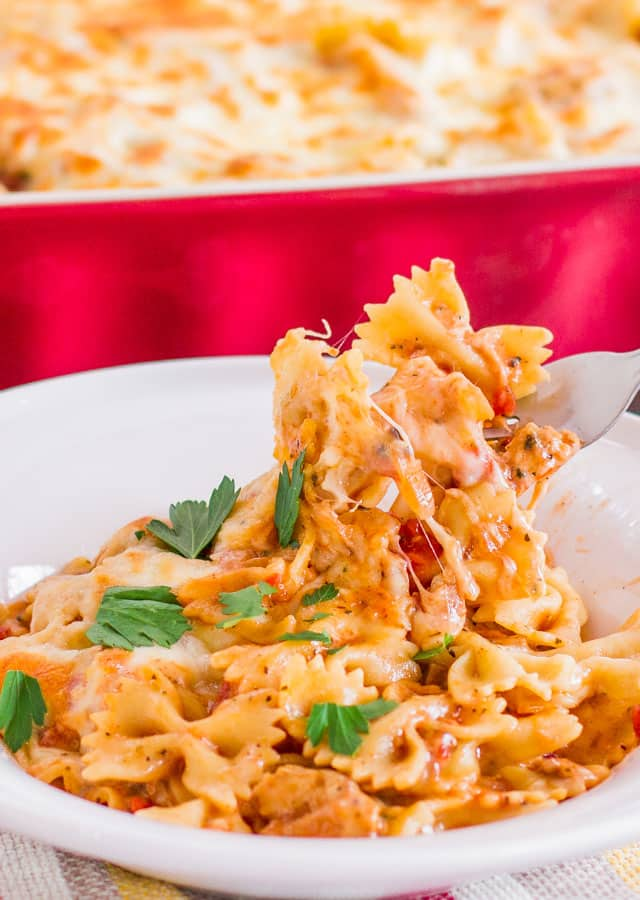 Close up of a bowl of Cheesy Chicken Pasta Bake