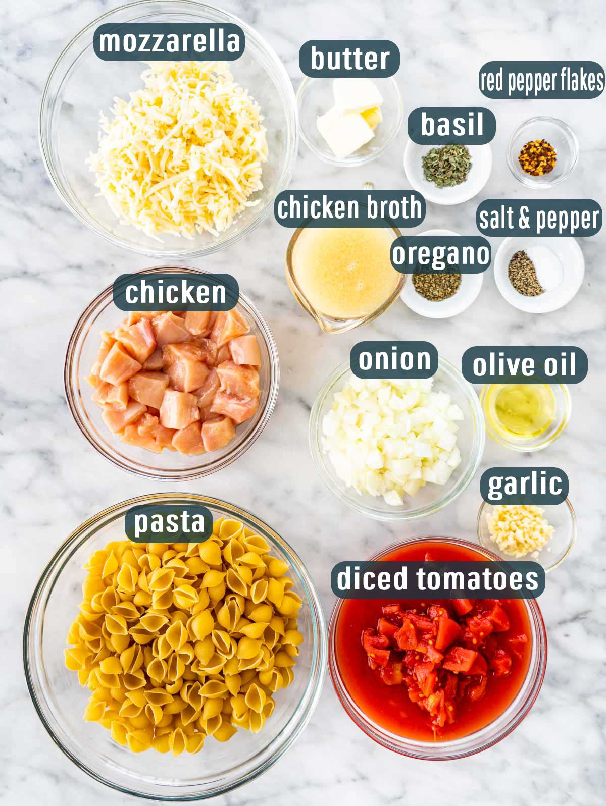 overhead shot of ingredients needed to make chicken casserole.
