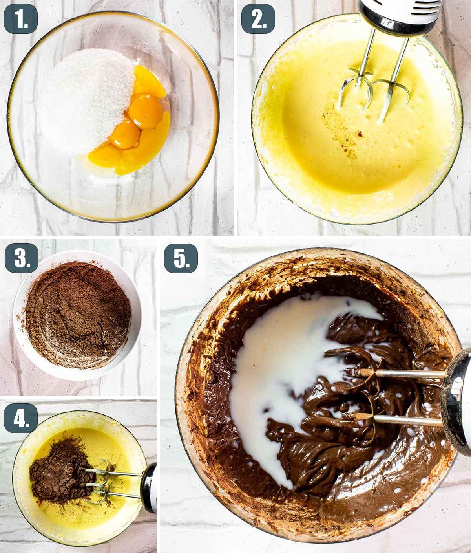 process shots showing how to make chocolate magic cake.