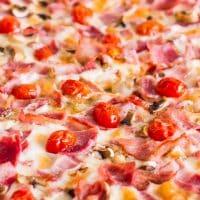 close up shot of a deli pizza