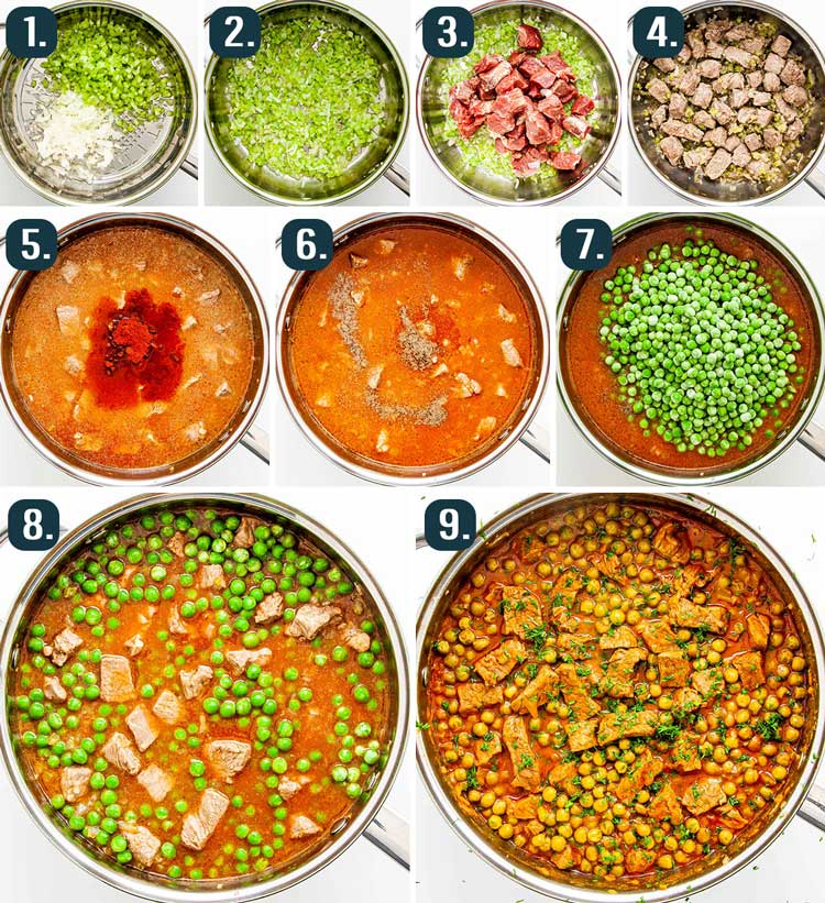 detailed process shots showing how to make beef and pea stew