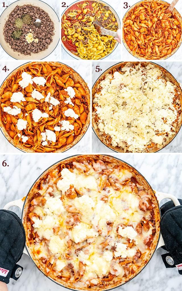 process shots for making skillet lasagna