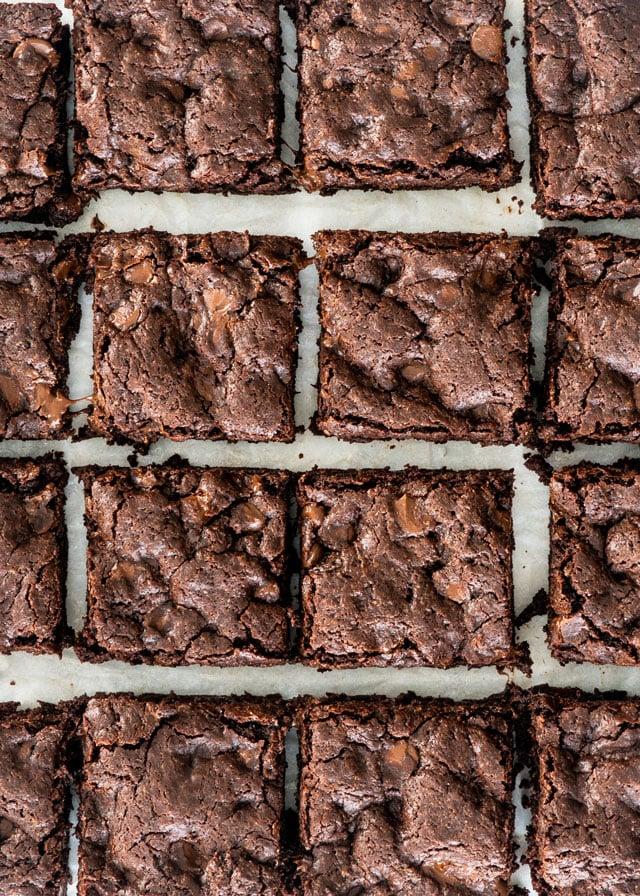 overhead shot of brownies