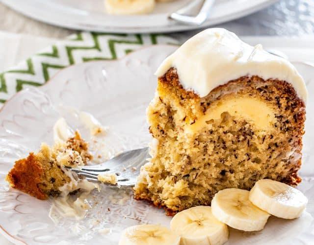 Cream Cheese Filled Banana Cake - Jo Cooks
