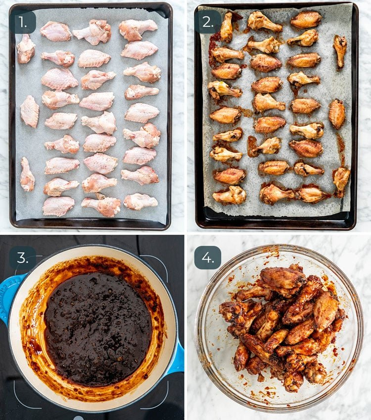 process shots showing how to make honey garlic chicken wings