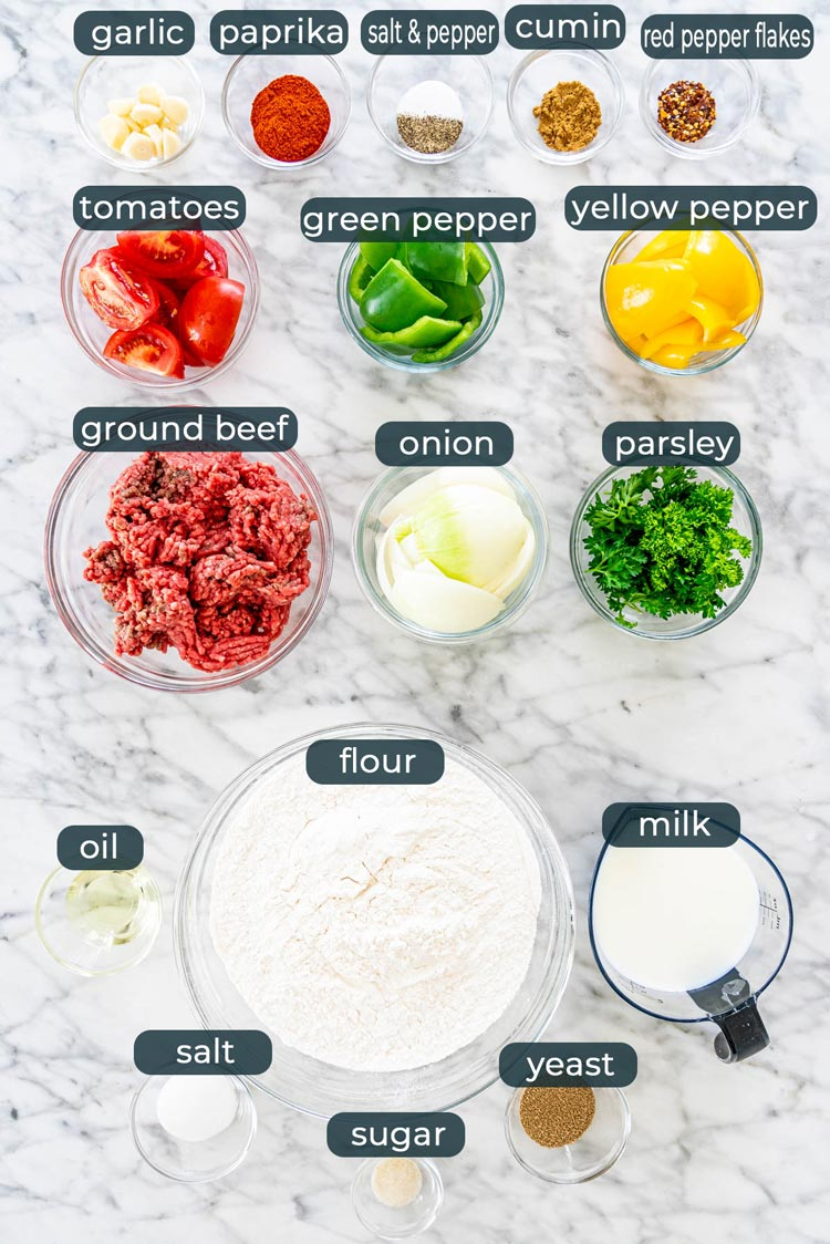 overhead shot of all ingredients needed to make lahmacun
