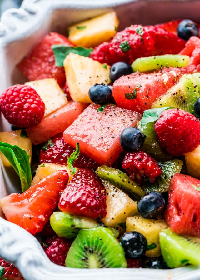 closeup of fruit salat in a serving bowl