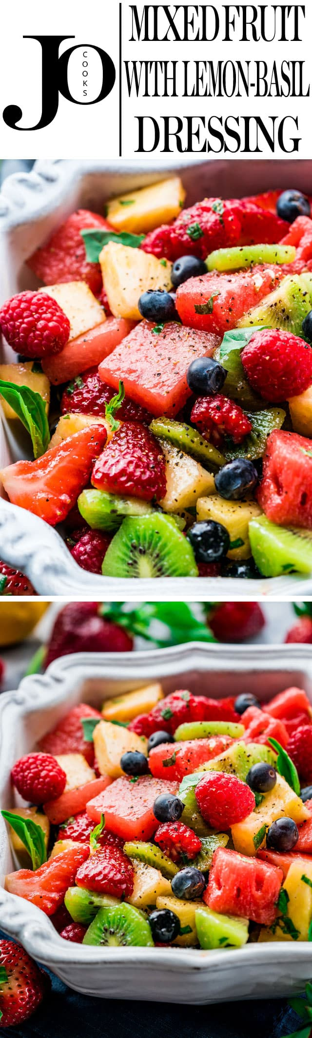 This Mixed Fruit with Lemon-Basil Dressing is super refreshing and delicious with an incredible savory dressing. Perfect for summer! www.jocooks.com #fruitsalad
