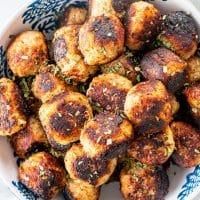 overhead shot of sweet potato turkey meatballs in a bowl