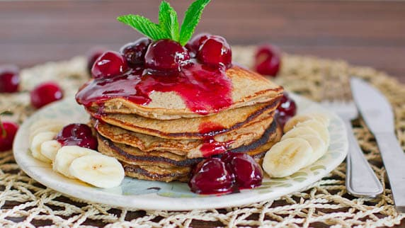 Banana Oatmeal Pancakes with Fresh Cherry Sauce