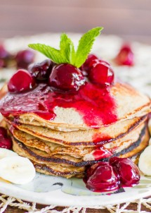 banana-oatmeal-pancakes-with-fresh-cherry-sauce-2