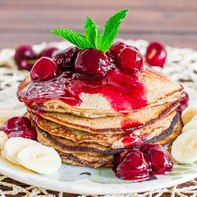banana-oatmeal-pancakes-with-fresh-cherry-sauce
